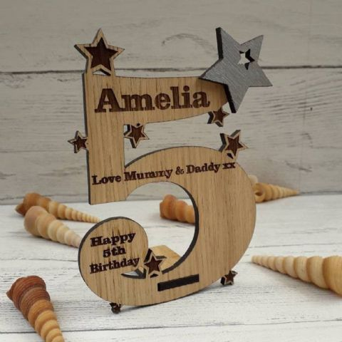 Personalised Fifth 5th Birthday Card Oak Wooden Keepsake Gift